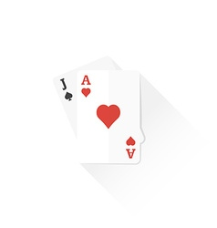 color playing cards black jack combination icon vector image vector image
