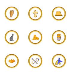 egypt icons set cartoon style vector image