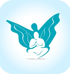human silhouette with wings vector image