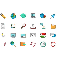 Internet colorful icons set vector image vector image