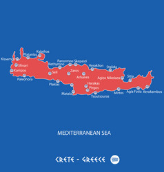 island of crete in greece red map vector image