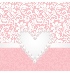 lace background withpearl heart vector image