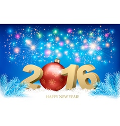 New Year background with a 2016 and a bauble vector image vector image