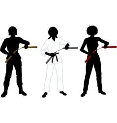 Nunchuck girl in uniform set of silhouettes vector image vector image
