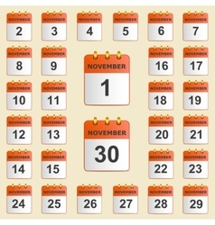 Set of icons for the calendar in November vector image vector image