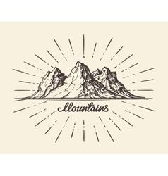 Vintage hand drawn Mountains Sketch vector image vector image
