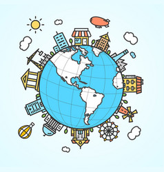 globe and building around vector image