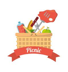 picnic basket food fork grill vector image