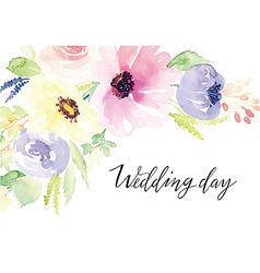 Watercolor greeting card flowers vector image vector image