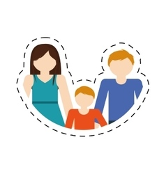 family mom dad and son together members cut line vector image vector image