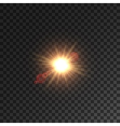 Light of sun star with lens flare effect vector image vector image