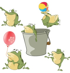 Set of Cartoon Cute Green Frogs vector image vector image