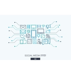 Social media integrated thin line symbols vector image vector image