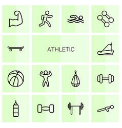 14 athletic icons vector