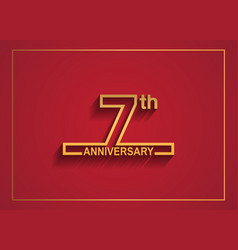 7 anniversary design with simple line style vector