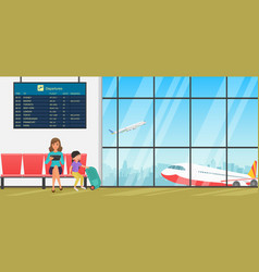 airport waiting room or departure lounge with vector image