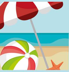 beach landscape with balloon plastic scene vector image