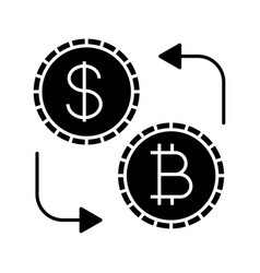 bitcoin and dollar currency exchange glyph icon vector image