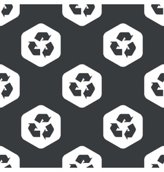 Black hexagon recycle pattern vector