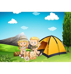 Boy and girl camping in the park vector