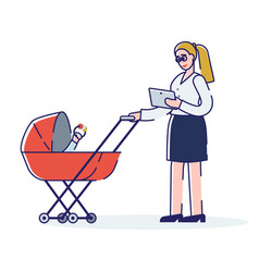 Business woman with pram young mother vector