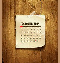 Calendar October 2014 vector image