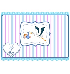 Cartoon stork with baby card vector image