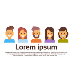 Casual people group avatar icon banner with copy vector