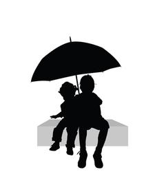 Children sitting under umbrella part two vector