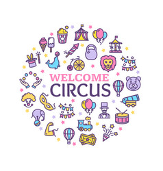 circus signs round design template thin line icon vector image
