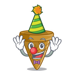 clown sweet wafer cone isolated on maskot vector image