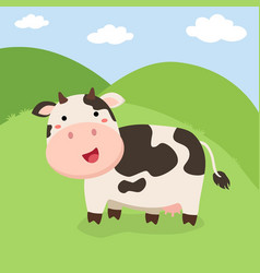 Cute cow standing on field vector
