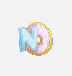 Cute fashion girl sticker with word no and donut vector
