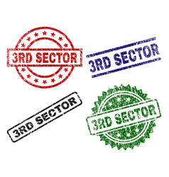 Damaged textured 3rd sector stamp seals vector