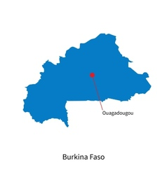 Detailed map of Burkina Faso and capital city vector