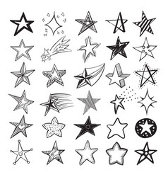 doodle star set holiday design elements and vector image