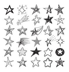 doodle star set holiday design elements vector image