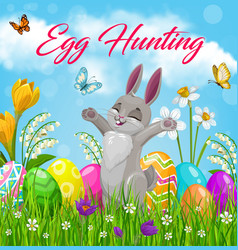 easter egg hunt bunny on green grass with flowers vector image