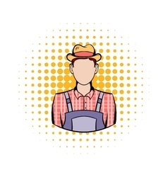 Farmer comics icon vector
