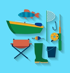 Fishing design concept set style flat vector image