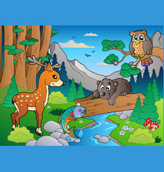 forest scene with various animals 1 vector image