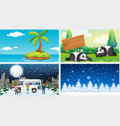 Four scenes summer and winter vector