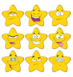 Funny yellow star character collection - 2 vector