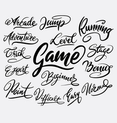 game and bonus hand written typography vector image