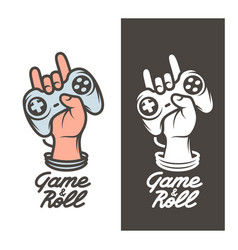 Game and roll t-shirt design hand with joystick vector