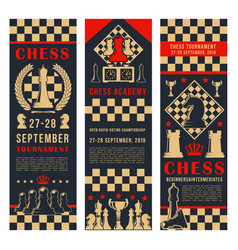 Game tournament banners with chess pieces vector