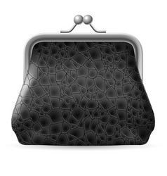 Gray leather purse on white background vector