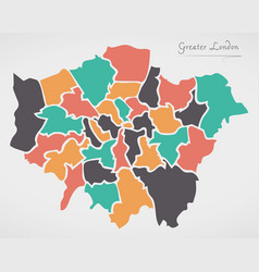 greater london england map with states and modern vector image