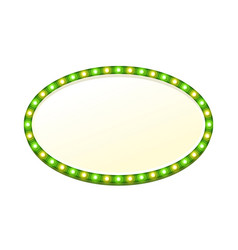 green blank 3d oval retro light banner with lights vector image vector image