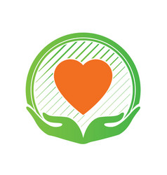 Hand and love logo icon and sign in charity vector